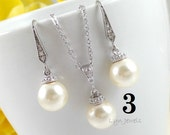 8% OFF Set of 3 Bridesmaids Pearl Jewelry - Swarovski Pearl Drop Bridal Necklace and Earrings Set - You Choose Pearl Color