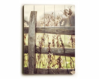 Country Wall Art wood sign: country home decor fence wood print golden