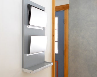 IPAD ORGANIZER with Shelf Perfect for iPad and Android Tablets or File Folders. Home Organization with Modern Design.
