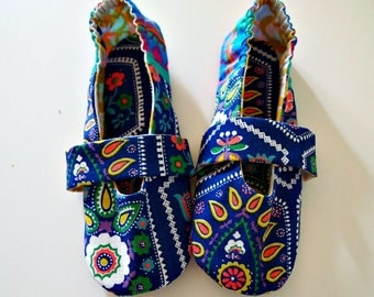 Fabric slippers Mary jane house shoes dutch print fabric colorful with faux leather sole eco friendly shoes