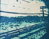 Blue Lonesome Telephone Pole-Hand Pulled, Limited Edition