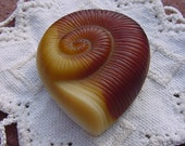 Caramel Toffee Nautilus Vintage NOS Czech Glass Brooch