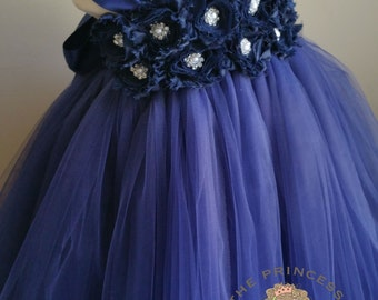 navy blue flower girl dress, flower girl dress, navy blue dress, navy dress, tutu dress, navy blue tutu dress, bithday outfit, navy blue