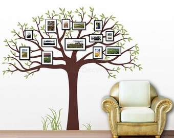 "Family Photo Tree Wall Mural, Removable Wall Decal, Nature Tree Wall Stickers- Family Photo Tree 90""H by 102""W - Free Custom Color PT-0276"