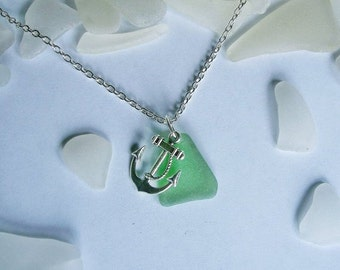 Green beach sea glass necklace with anchor. Seaglass jewelry.