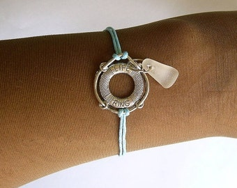 Sea glass bracelet with life ring. Sea glass jewelry. Beach gift.