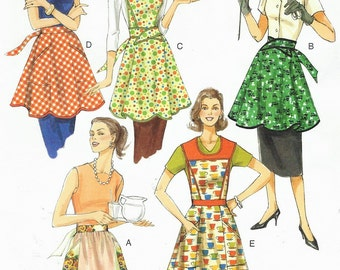 Womens Full and Half Aprons OOP Vogue Sewing Pattern V8740 Size 8 10 12 14 16 18 20 22 Bust 31 1/2 to 44 UnCut Vintage Style Aprons
