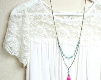 Tassel Necklace - The Perfect Pink and Turquoise Tassel Necklace