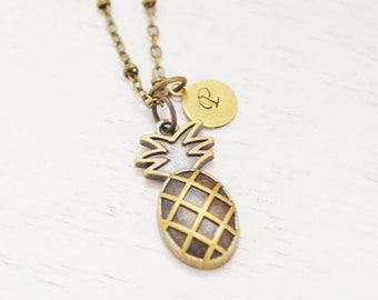 pineapple necklace, pineapple charm jewelry, fruit necklace, personalized, monogram, custom initial gift, bridesmaid, daughter, christmas