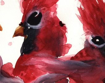 Large Fine Art Print of Three Cardinals, Bird Art Print