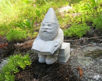 Gnome, Garden Gnomes, Gnewman The Bookworm Gnome, Cement Statue, Garden Concrete Figure, Gnome Reading Book, Gnome Teacher Educator, Elf