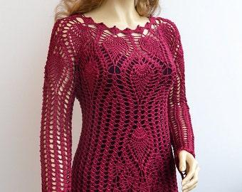 Crocheted sweater-blouse bolero made to order, crochet handmade