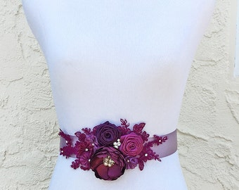 Autumn Berries - Cranberry Magenta Berry Sangria Flowers with Swarovski Sew on Crystals Pearls Sash Bride, Bridesmaid Special Event
