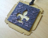 Fleur De Lis Tags x 8 - Embossed Tags - Gift Tags - Black - distressed - Textured - 3Dimensional - Cupid and Psyche