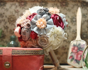 Crimson red bouquet, red bouquet, bridal bouquet, wedding bouquet, fabric bouquet, matching boutonnieres