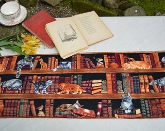 Table Runner . Cats in the Library . Quilted Table Runner . Cat Table Runner . Adorable by SeamsOriginal