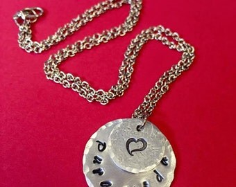 Hand Stamped Jewelry - Necklace - Pendant Necklace - Customizable Necklace - Personalized - Handstamped Necklace - Mom Necklace - Kids Names