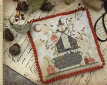 Witches Night Out Halloween cross stitch pattern by Country Stitches With Thy Needle and Thread at cottageneedle.com Autumn prim holidays