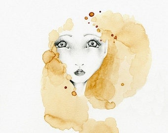 Abstract Gold Brown Home Decor Abstract Girl Fine Art Giclee Art Print of My Original Abstract Coffee Staining Art Big Eyes Drawing Gift