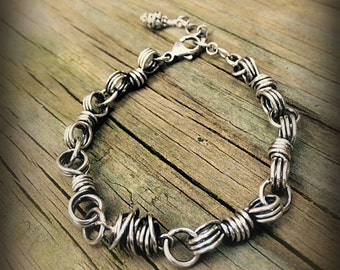 Chunky Wire Wrapped Sterling Silver Bracelet