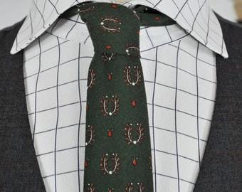 Green, Burnt Orange, and White Princeton / Superba Patterned Men's Slender Necktie 2.75 in. x 52 in.