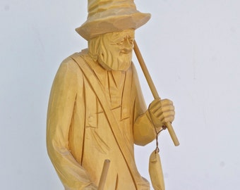 Fisherman Sculpture. CARON wood carving .  Quebec Canada . fishing. carving sculpture / St. Jean Port Joli.  folk art cs