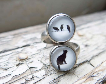 Cat and Birds Ring Statement Black Double Statement Gunmetal Animal Silhouette Gift Fun Quirky Present for Her Fun Animal