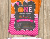 Pumpkin Patch One First Birthday girl orange pink green  PRINTABLE Invitation #4 chevron polka dot  1st birthday halloween fall  1051
