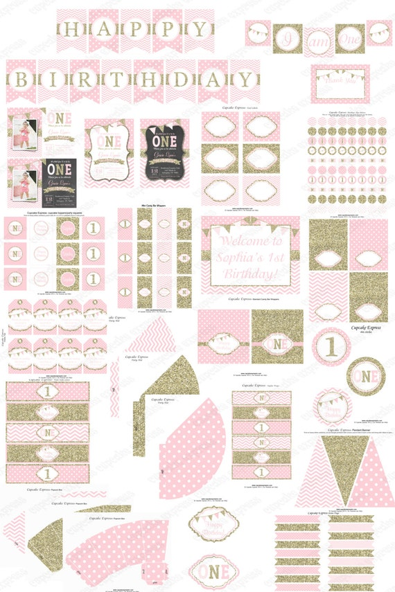 One first birthday girl pink gold printable deluxe for 1st birthday decoration packages