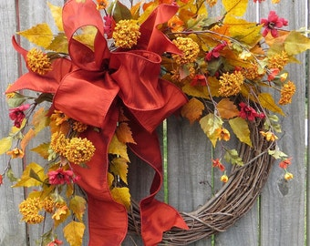 Fall Wreath, Wreath for Autumn, Fall Flowers and Bow Wreath, Designer Fall Decor, Handmade Wreath, Wreath for Halloween, Thanksgiving wreath