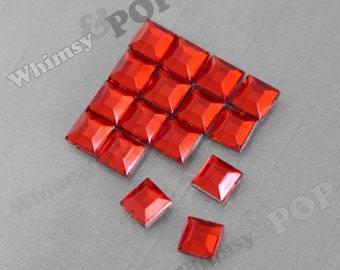 Cherry Red Acrylic Cube Box Square Loose Rhinestones, Multi-Faceted Rhinestones, Square Flatback Rhinestone, Cabochons 6mm (R8-154)