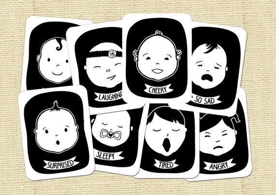Baby Faces Black and White High Contrast Flash cards for