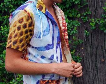 SALE- Men's Guayabera Shirt, Cotton, Multicolor Shirt, Guayaberas, Guys Fashion, Short Sleeves