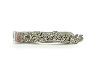 Mens Tie Clip. Vintage Sterling Silver Tie Bar. Personalized Name 'Johnny' 1940s Retro Jewelry Accessory.