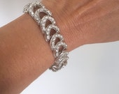 Vintage Pave Link Bracelet Pave Chain Bracelet Pave Tennis Bracelet Crystal Chain Bracelet White Stone Silver Bracelet