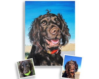 11x14 painting from photo custom pet portrait on canvas hand painted dog cat