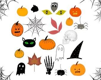Halloween Clipart Set, Halloween Autumn Cliparts, Spider, Ghost, Black Cat, Pumpkin, Halloween Printable Digital Sheet