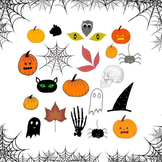 Halloween Clipart Set, Halloween Autumn Cliparts, Spider, Ghost, Black Cat, Pumpkin, Halloween Printable Digital Sheet
