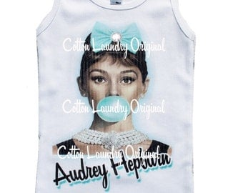 Audrey Hepburn tank tee shirt one piece body suit tshirt Vintage inspired childrens tshirt