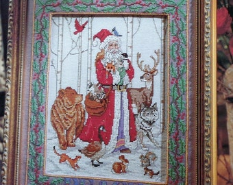 FOREST SANTA CLAUS Counted Cross Stitch Pattern Chart - fam