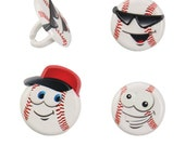 Cupcake Toppers, 12 Baseball Cupcake Toppers, Softball Cupcake Rings, Party Favors, Plastic Charms, Surprise Ball Gifts, Trinkets