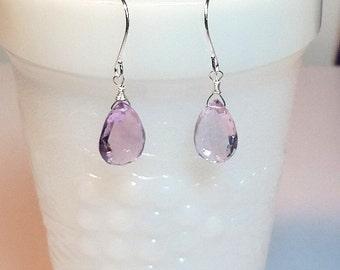 Pink Amethyst Gemstone Drop Earrings, Christmas Girlfriend Mom Sister Grandmother Bridesmaid Jewelry Gift, Briolette Pear