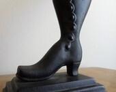 Vintage Black Cast Iron Victorian Shoe Match Stick Holder - Antique, Edwardian, Folk, Rustic, Hearth, Primitive, Cottage Witch