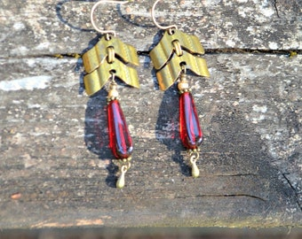 Brass Chevron Chain Earrings with Red Glass beads vintage assemblage jewelry by practicallyfrivolous on etsy