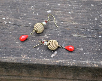 Crimson Teardrop Earrings with Coiled Brass Beads told tone and bright red earrings by practically frivolous on etsy