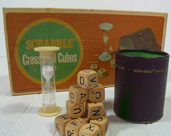 Vintage Scrabble CrossWord Cubes Game - Retro Selchow & Righter 1960s Wooden CrossWord Cubes Set - Original Game Equipment for Repurposing