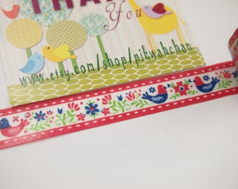Bird & Flower Washi Tape (6M) 029604