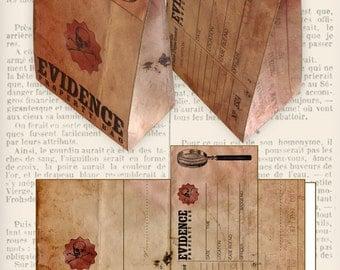 Evidence Favor Bag Halloween party trick or treat police detective paper crafting hobby instant download digital collage sheet - VDFBGR1101