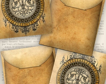 Steampunk Tea Bag Envelope diy crafting hobby steampunk tea party printable instant download digital collage sheet - VDTEST1105