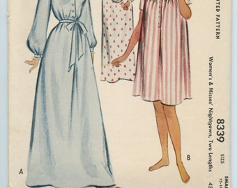 1950s McCall 8339 Misses Nightgown Long or Short Vintage Sewing Pattern Bust 30-32